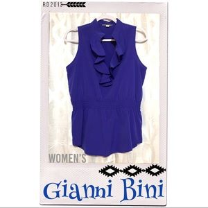 Gianni Bini Blue Ruffle Top